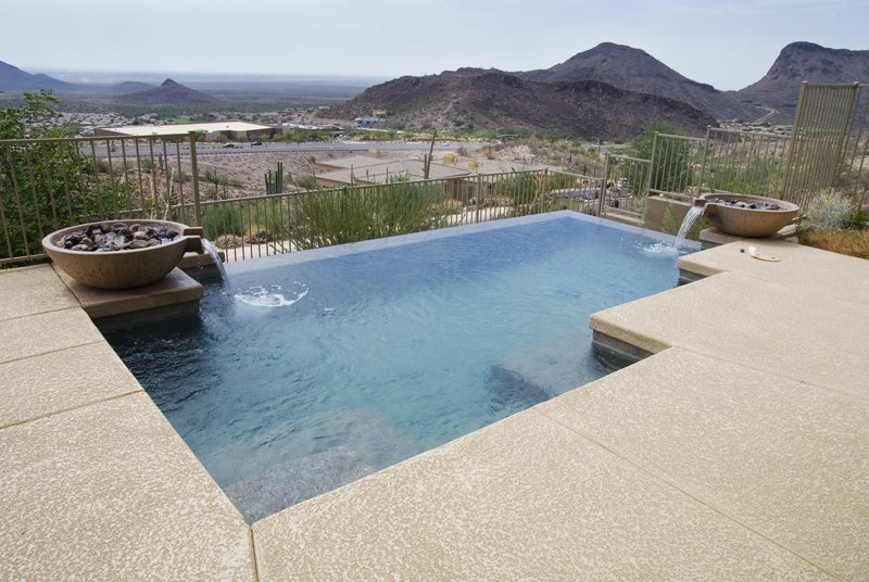Small Vanishing Edge Pool, Bowl Fountains Southwestern Landscaping Landscaping Network Calimesa, CA