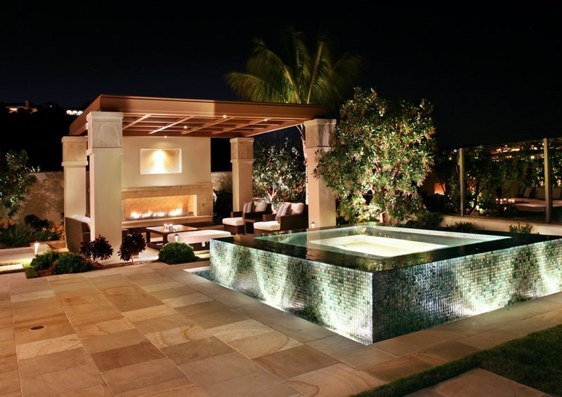 Mosaic Tile Spa, Zero Edge Spa Spas Urban Landscape Inc. Newport Beach, CA