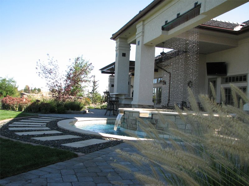 Waterfall, Mote, Spill Over, Stone, Raised, Round Spas Breckon Land Design Inc. Garden City, ID