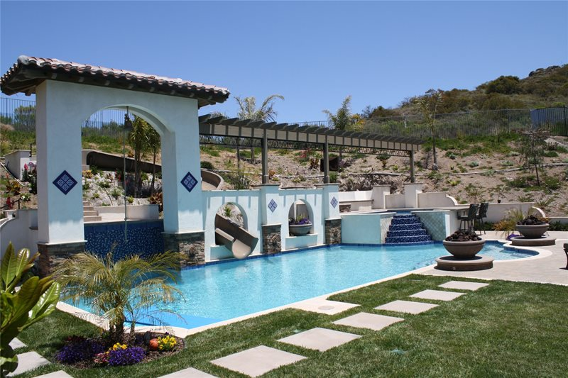 Backyard Waterslide Swimming Pool The Green Scene Chatsworth, CA