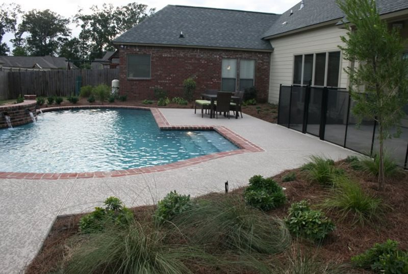 Brick Coping, Pool Coping Swimming Pool Angelo's Lawn-Scape Of Louisiana Inc Baton Rouge, LA
