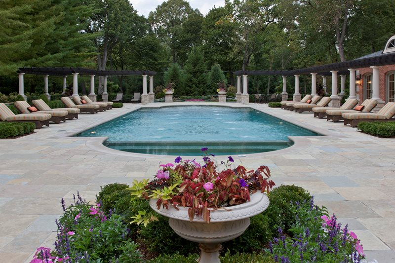 classic roman pool design swimming pool zaremba and company landscape clarkston mi - Swimming Pool Landscape Designs