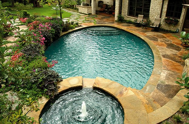 Concrete Deck, Textured Concrete Swimming Pool Bonick Landscaping Dallas, TX