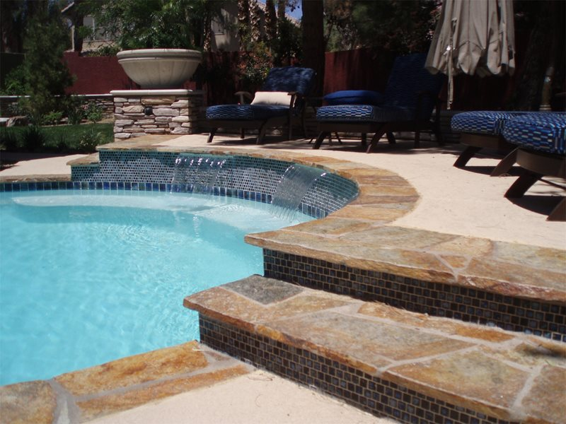 Flagstone Coping, Waterfalls, Blue Tile Swimming Pool Newtex Landscape, Inc. Henderson, NV