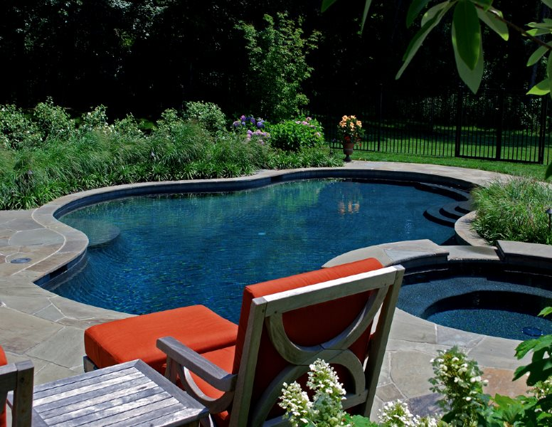 Freeform Pool, Round Spa, Stone Pool Deck Swimming Pool Botanical Decorators Olney, MD