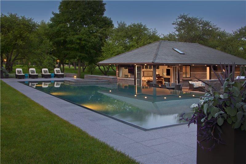 Granite Pool Deck Swimming Pool Zaremba and Company Landscape Clarkston, MI