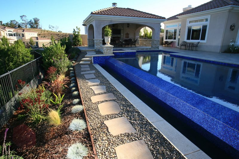 Infinity Edge, Blue Mosaic Tile Swimming Pool Lisa Cox Landscape Design Solvang, CA