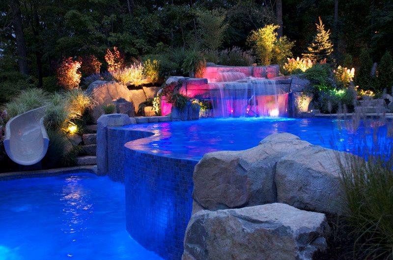 Infinity Edge Pool, Pool Lighting Swimming Pool Cipriano Landscape Design Mahwah, NJ