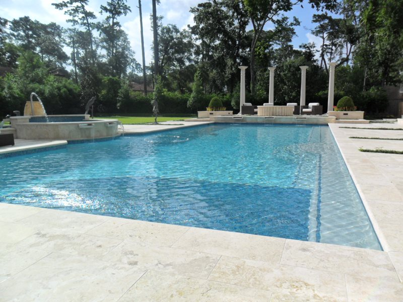Limestone Pool Deck, Luxury Backyard Pool Swimming Pool Oasis Landscape Design Houston, TX