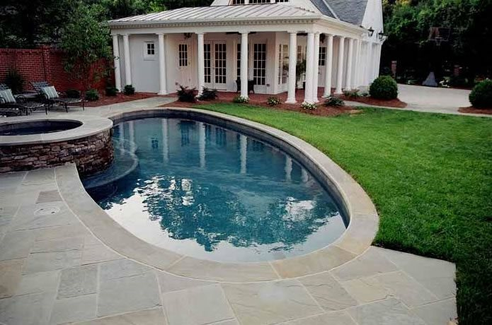 Oval Pool, Raised Spa Swimming Pool J'Nell Bryson Landscape Architecture Charlotte, NC