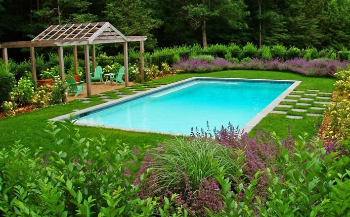 Pool Deck, Grass Swimming Pool Andrew Grossman Landscape Design Seekonk, MA