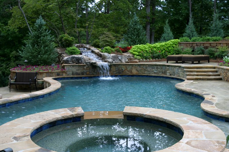 Pool On Slope Stone Coping Waterfall Swimming Artistic Landscapes Woodstock Ga