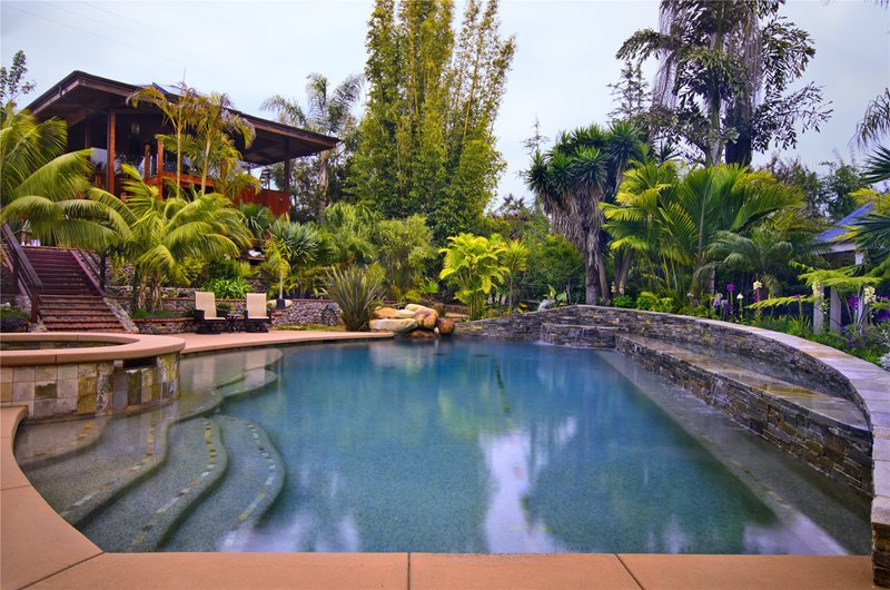 Pool, Spa, Waterfall, Stone, Palm Trees Swimming Pool Landscaping Network Calimesa, CA