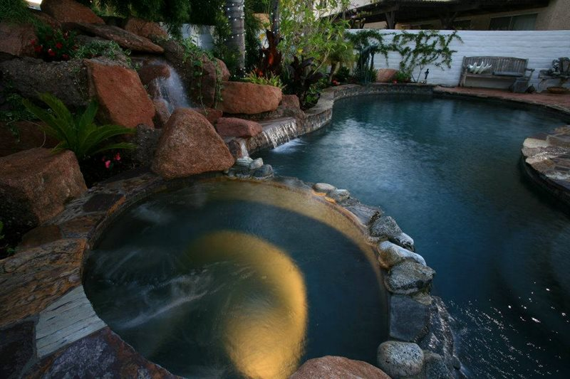 Pool Stone Coping, Raised Spa, Dark Water Swimming Pool Lisa Cox Landscape Design Solvang, CA