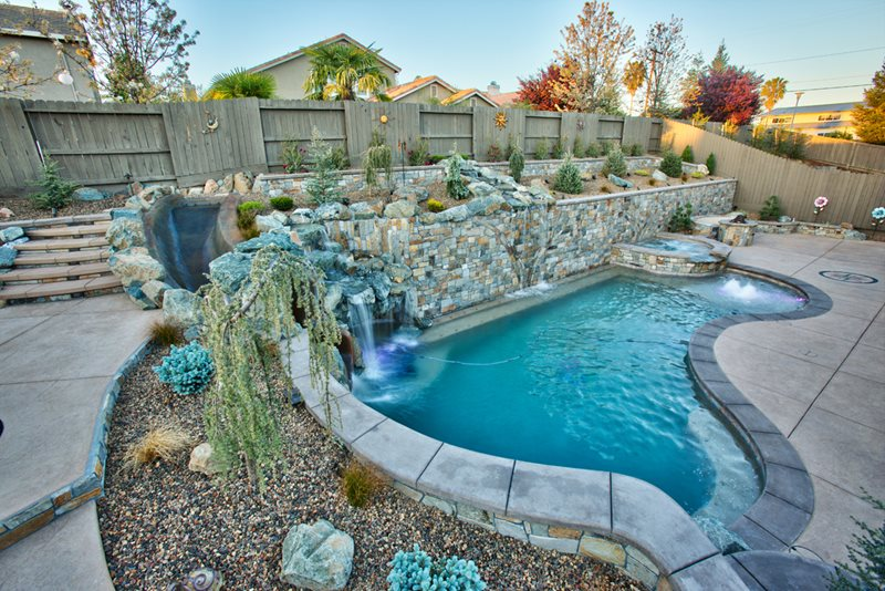 pool waterfall pool waterslide swimming pool poseidon pools folsom ca