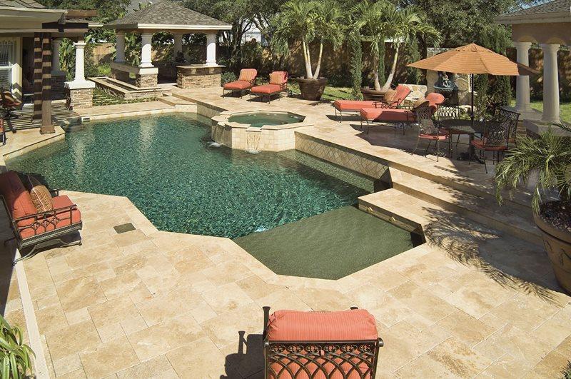 Raised Bond Beam Pool, Limestone Pavers Swimming Pool Mid Atlantic Enterprise Inc Williamsburg, VA
