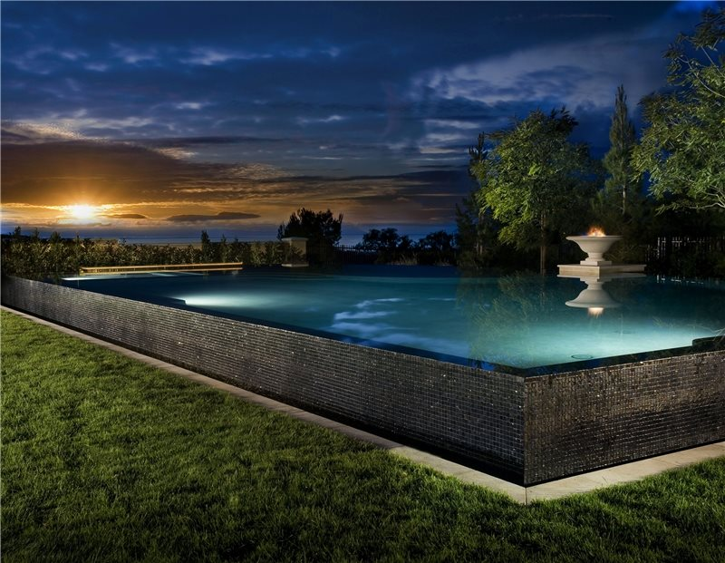 Raised Pool, Pool At Night Swimming Pool Studio H Landscape Architecture Newport Beach, CA