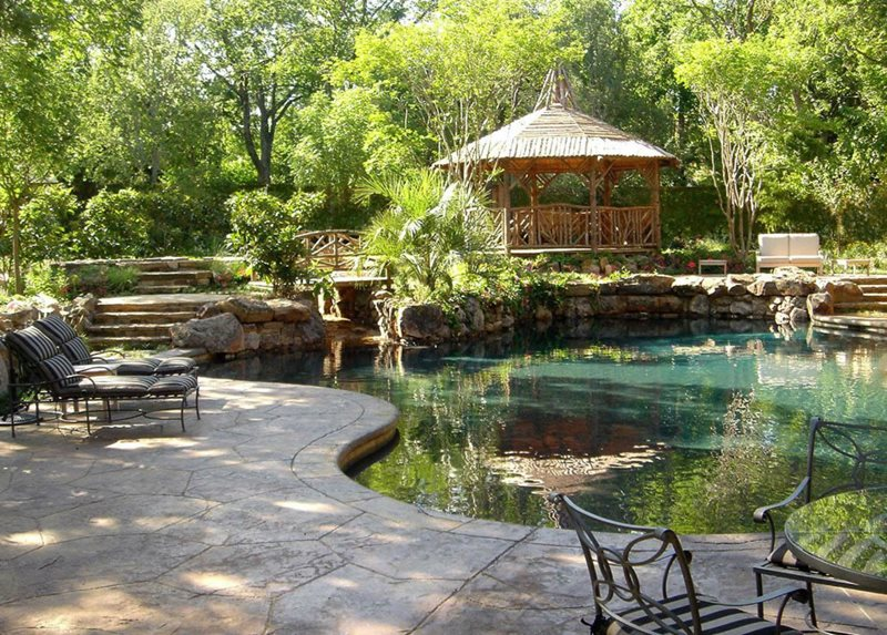 Rustic Pool, Rustic Gazebo Swimming Pool Harold Leidner Landscape Architects Carrollton, TX
