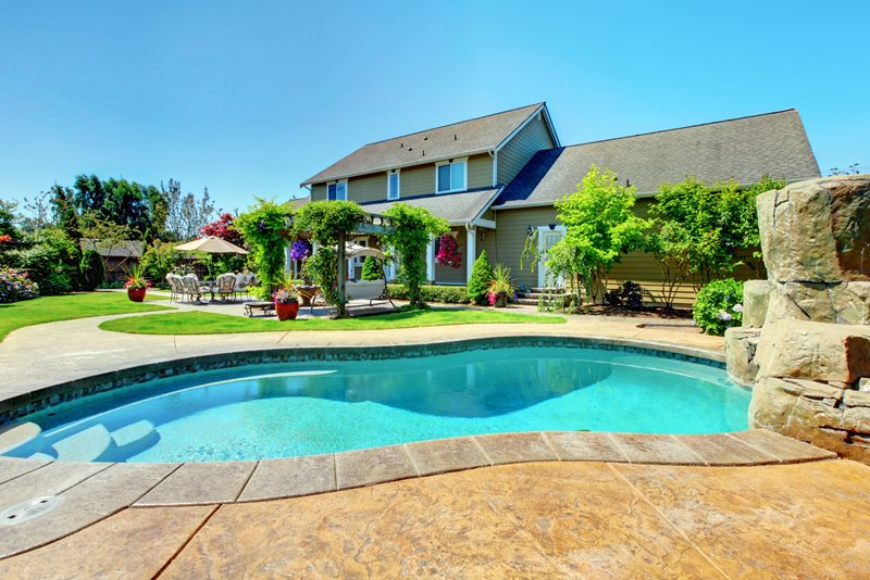Stamped Concrete Pool Deck, Vine Covered Pergola Swimming Pool Landscaping Network Calimesa, CA