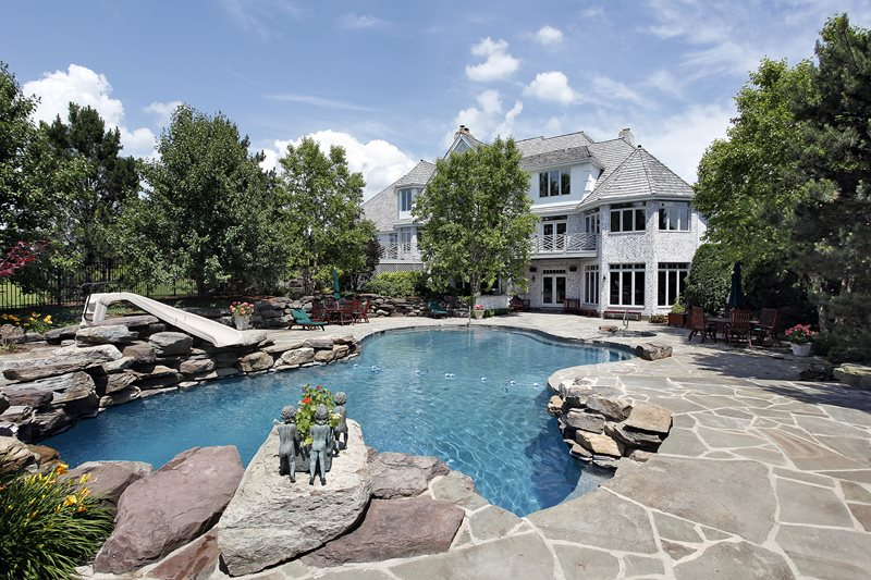 Stone Pool Deck, Swimming Pool Boulders Swimming Pool Landscaping Network Calimesa, CA