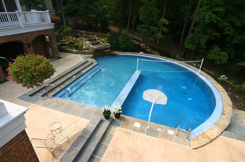 Swimming pool hilliard oh photo gallery landscaping for Pool design for volleyball