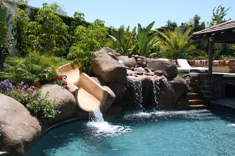 Swimming Pool Waterslide, Swimming Pool Faux Boulders Swimming Pool The Green Scene Chatsworth, CA