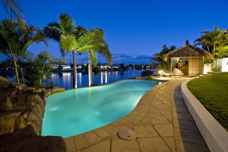 Tropical Swimming Pool, Thatch Cabana Swimming Pool Landscaping Network Calimesa, CA