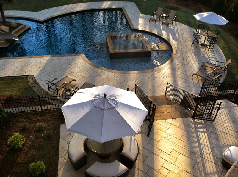 Wetcast Pool Decking Swimming Pool Silver Creek Stoneworks Rochester, MN