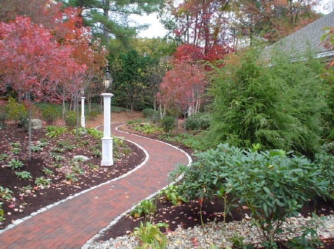Curved Brick Path Traditional Landscaping Fieldstone Design Leominster, MA