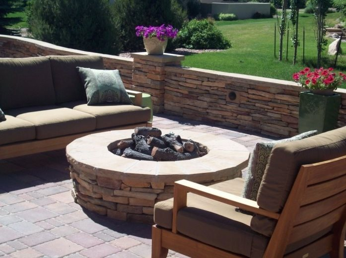 Custom Gas Fire Pit Traditional Landscaping Green Scapes Landscaping Colorado Springs, CO