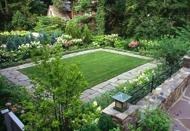 Flagstone Border, Lawn Border Traditional Landscaping Westover Landscape Design Tarrytown, NY