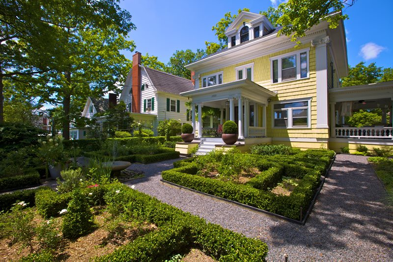 Formal Front Yard, Front Yard Hedges Traditional Landscaping A J Miller Landscape Architecture Syracuse, NY