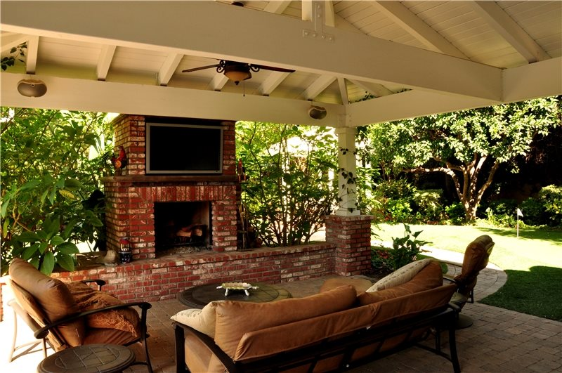 Outdoor Fireplace And Tv Traditional Landscaping The Green Scene Chatsworth, CA