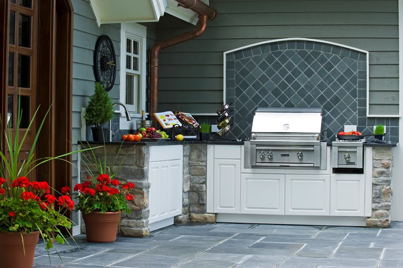 Outdoor Kitchen Design, White Cupboards Traditional Landscaping Lake Street Design Studio Petoskey, MI
