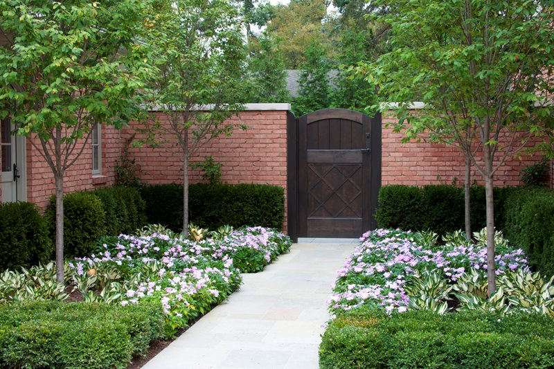 Wooden Privacy Gate, Brick Wall Traditional Landscaping Zaremba and Company Landscape Clarkston, MI