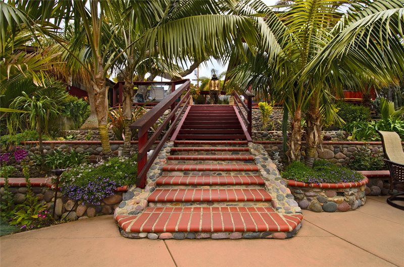 Brick, Steps, Stone, Palms, Railing Tropical Landscaping Landscaping Network Calimesa, CA