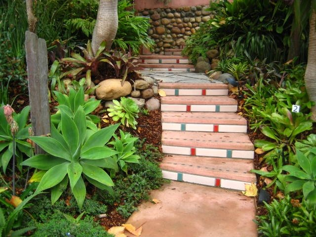 Curved Steps Tropical Landscaping Landscaping Network Calimesa, CA