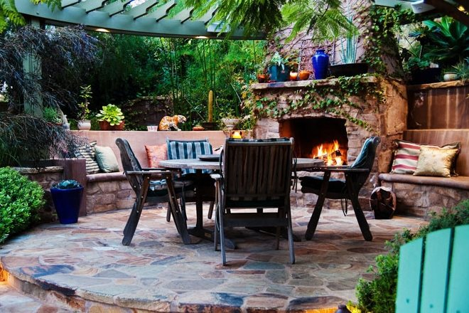 Custom Outdoor Fireplace, Outdoor Fireplace Seating Tropical Landscaping Terry Design Inc Fullerton, CA