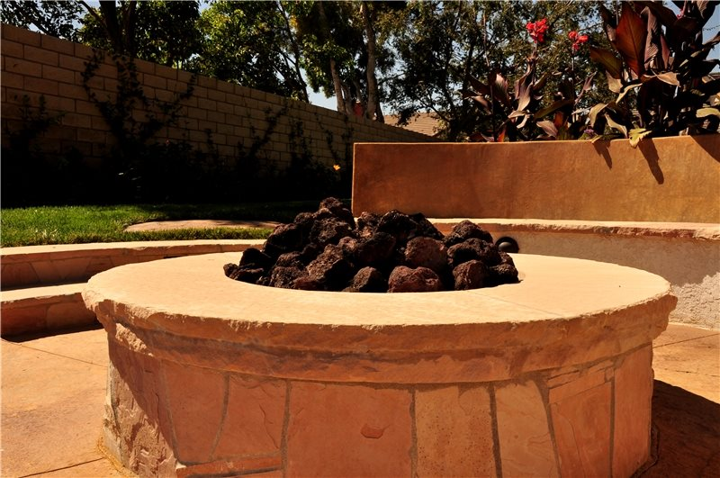 Gas Fire Pit, Lava Rock Tropical Landscaping The Green Scene Chatsworth, CA