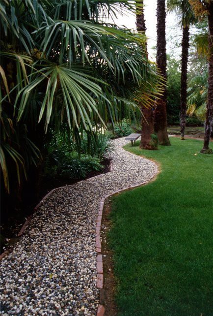 Gravel Walkway, French Drain Tropical Landscaping Maureen Gilmer Morongo Valley, CA