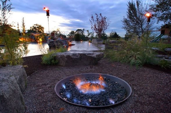 In Ground Fire Pit Tropical Landscaping Copper Creek Landscaping, Inc. Mead, WA