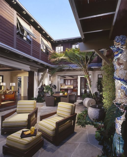 Patio, Courtyard Tropical Landscaping Studio H Landscape Architecture Newport Beach, CA