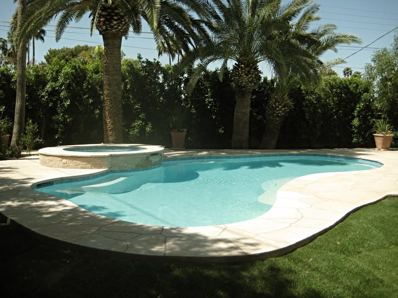 Tropical landscaping phoenix az photo gallery for Simple backyard pools