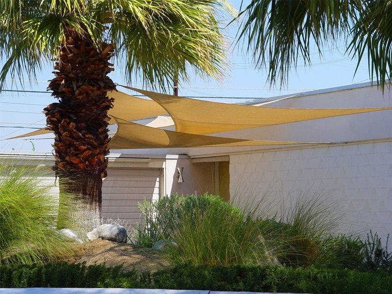 Shade Sail Tropical Landscaping Maureen Gilmer Morongo Valley, CA