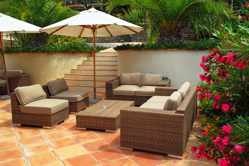 Terra Cotta Patio, Tiled Patio Tropical Landscaping Landscaping Network Calimesa, CA