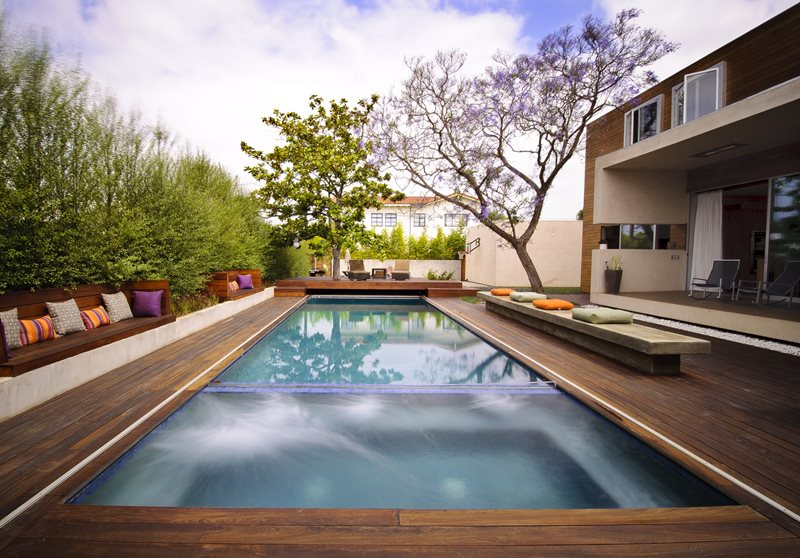 Wood Deck Swimming Pool Tropical Landscaping Z Freedman Landscape Design Venice, CA