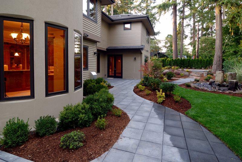 Backyard Walkway, Square Pavers, Granite Walkway Walkway and Path Landscaping Network Calimesa, CA