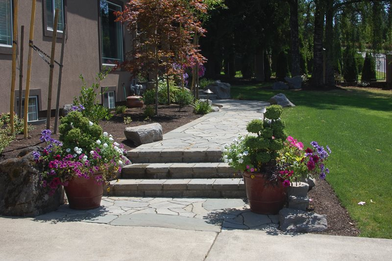 Belgard Mega Arbel, Bluestone Walkway and Path Ross NW Watergardens Portland, OR