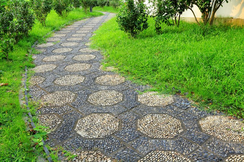 Black And White Walkway, Mosaic Path Walkway and Path Landscaping Network Calimesa, CA