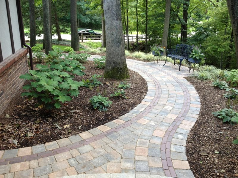 brick paver walkway curved paver walkway walkway and path miller landscape inc orion - Sidewalk Design Ideas
